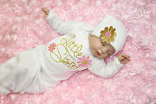 Cotton Flower Little Sister Baby Girl Coming Home outfit Baby Gown Hat 2pcs Set