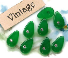 Vintage Teardrop rhinestones Emerald 8x5mm Flat Back NOS Pear Green (1367C)