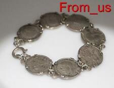 VINTAGE SILVER Old Tree pence COIN BRACELET VERY PRETTY / Or 174