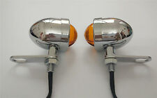 Chrome Amber 3 Wires Turn signal lights Indictors With Mount Brackets Motorcycle