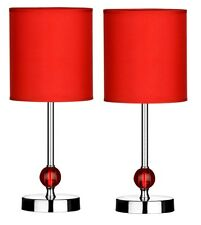 Set Of 2 Table Lamp Red Shade With Acrylic Ball Chrome Finish Base Home Decor
