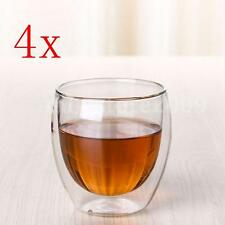 4 PCS Clear Handmade Heat Resistant Double Wall Glass Kungfu Tea Drink Cup 70mL
