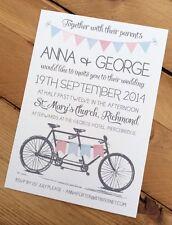 50 Vintage Hecho A Mano Personalizado Invitaciones de boda de banderines de Bicicleta tándem