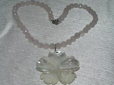 Estate Light Pink Faceted Beads with Carved Mother of Pearl Large Flower Pendant