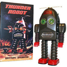 Thunder Robot Tin Toy Battery Operated Retro Toy Brown Edition