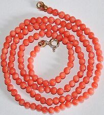 VINTAGE NATURAL 3.2mm SMALL PINK CORAL Bead 9K Gold CLASP FINE KNOTTED NECKLACE