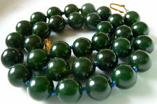 """Mysterious 10mm Dark Green India Agate Gemstone Necklace 18""""AAA"""