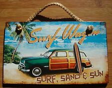 SURF WAGON SAND & SUN Woody Surfboard Surfer Surfing Tropical Beach Sign Decor