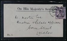 QV OHMS Mourning Cover, 1d Lilac IR Official Overprint w Ludlow 1901 Postmark