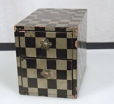 Japanese Lacquer Ware Wood Box - Silver Leaf Checkerboard Design
