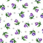 Violet Buds, Green Leaves on White, Catalina Ultra Violet, Maywood (By 1/2 yard)