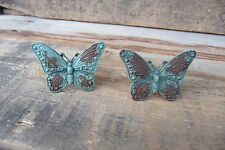 Distressed Teal Aqua BUTTERFLY Knobs = Cast Iron Shabby Cabinet Drawer Pulls