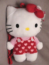 "Hello Kitty Backpack plush ""14"" Red with Pink Hearts Officially Licensed NWT"