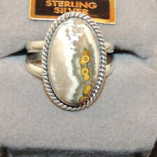 Sterling Silver and 18x11mm Ocean Jasper Ring size 7 (11166)