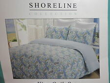 New  Shoreline Collection King Quilt and Shams Set - Aqua Lime Yellow Paisley