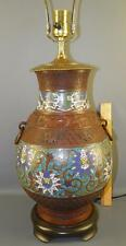 Antique Asian Champleve Cloisonne Table Lamp Vase Bronze Enamel