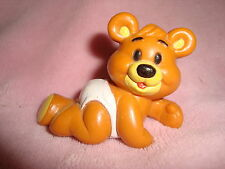 "Shoppers Drug Mart Teddy Bear in Diaper 1987 PVC Figure 1.75"" tall x 2.5"" long"