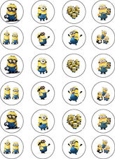 PRE CUT Minion Despicable Me Edible Cupcake Cake Wafer Paper Toppers x 24