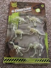6 x Dinosaur Fossil Skeleton Jurassic Park Glow In The Dark Creature Toy Figures