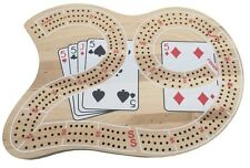 AUTHENTIC LARGE THICK WOODEN CRIBBAGE BOARD - 3 TRACKS INCLUDING PEGS