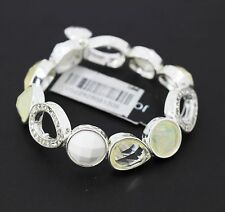 Jones New York Silver Tone White Faceted Stone Stretch Bracelet
