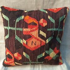 Handmade Turkish Kilim cushion cover, Throw pillow, Boho Design 16x16""