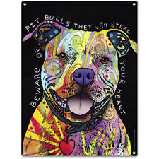 Beware Rainbow Pit Bull Dog Dean Russo Sign Pet Steel Wall Decor 12 x 16
