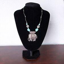 Para Mujeres Gypsy Turquesa Elefante Colgante Plata Cadena Collar Enlace Vintage