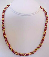 """Braided, Bullion, Woven, Rope Necklace. 18"""" Red & Gold. Artisan Handcrafted"""