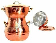 Authentic, hand-crafted, copper couscous pot- and-steamer - 4 Qt
