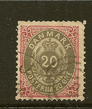 DENMARK: 1875 20 ore grey and rose   SG72 used