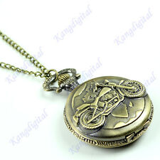 Motorcycle Motorbike MOTO Bronze Pocket Watch Pendant Mens Xmas Gift