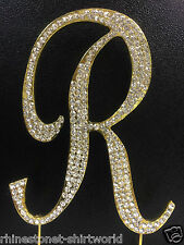 "GOLD Plated Rhinestone  Monogram Letter ""R""  Wedding Cake Topper  5"" inch high"