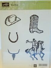 Stampin Up OUT WEST clear mount stamps wild horse cowboy boot hat