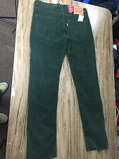 New Levis 511 Skinny Corduroy Forest Green Mens Casual Pants Size 31x32