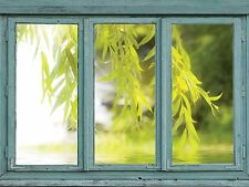 Vintage Teal Window Looking Out Into a Tree that Frames a Lake- Wall Mural-36x48