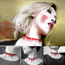 New Horror Red Blood Collar Choker Vintage Jewelry Punk Halloween Party Necklace