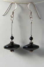 Stylish STERLING SILVER 925 Black GLASS Disc EARRINGS Hand Made UNUSUAL