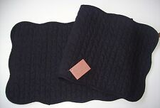 Solid Black Quilted Cotton Reversible Table Runner Great Finds EBONY