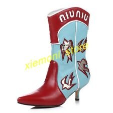 Fashion Womens Cowboy Mid Calf Boots Leather Kitten Shoes Pointed Paint Size 14