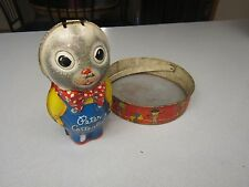 Vintage 1950's Mattel Peter Cottontail Musical Wind-up Tin Toy and sand sifter