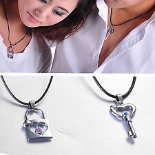 Stainless Steel New Lover Romantic Couple Gift Necklace Pendant Lock Key Crystal