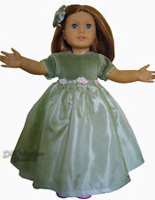 "Fancy Olive Colored Dress & Hair Bow for 18"" American Girl Doll Clothes"