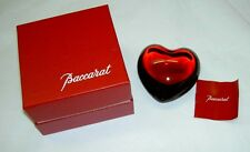 Authentic $170 BACCARAT Crystal RED Puff Heart Paperweight Decor New in Box !