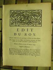 EDIT DU ROY 1734 : PRIVILEGES ORDRE DU SAINT ESPRIT