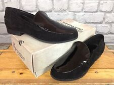 HUSH PUPPIES LADIES UK 8 EU 42 REDCLIFFE BLACK SUEDE PATENT SLIP ON LOAFERS SHOE