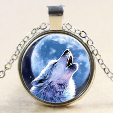 wolf and moon Cabochon Glass silver necklace for women men Jewelry MS#113