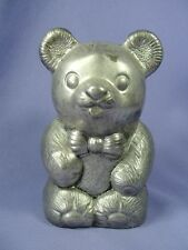 "Vtg Silverplated Metal Teddy Bear Bank Bow Tie by Leonard 5"" Tall Piggy Bank"