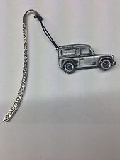 Land Rover Defender ref115 3D Pewter Effect Car On a Pattern Bookmark With Cord