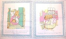 "LOT OF 2 BEATRIX  POTTER PETER RABBIT COTTON  FABRIC PANEL 12.5""  X 10.5"" BLUE 2"